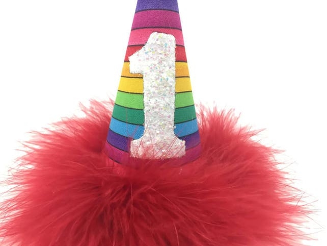 Rainbow Birthday Hat Party Supplies Dog Cat Pride