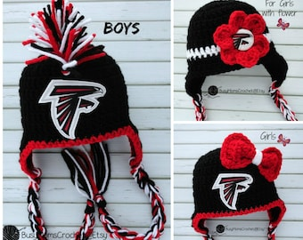 Handmade baby crochet Atlanta Falcons inspired HAT ONLY, boy or girl style available, football hat, handmade, newborn to child
