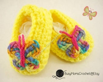 Handmade crochet baby girl booties, choose bootie color with multicolor butterfly, size newborn to 9 months
