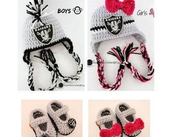 91faddf723f Handmade baby crochet Oakland LA Raiders inspired HAT   BOOTIES set