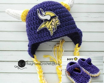 fd077d62b Baby crochet handmade Minnesota Vikings inspired hat and bootie set, boy or  girl style available, football hat, newborn to 9 months