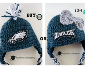 Handmade Philadelphia Eagles inspired crochet baby HAT ONLY 9063aef5a