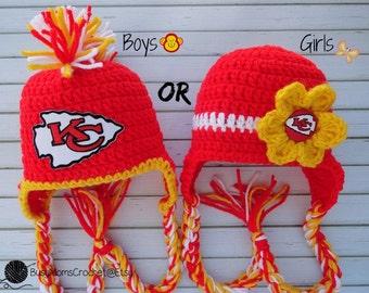 4dd2d2735d6e1 Handmade baby crochet Kansas City Chiefs inspired HAT ONLY