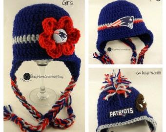 1e66d0141 Handmade New England Patriots inspired crochet HAT ONLY