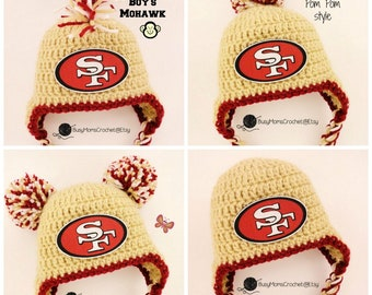 79785d43762 Handmade baby crochet San Francisco 49ers inspired HAT ONLY