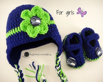 1ef0e9413 Handmade Seattle Seahawks colors inspired crochet hat and booties set, boy  or girl style available, Seahawks football hat, baby hat