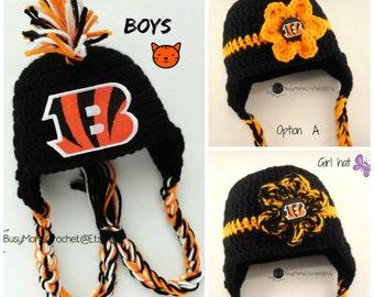 Handmade Cincinnati Bengals inspired crochet HAT ONLY d52697bd8