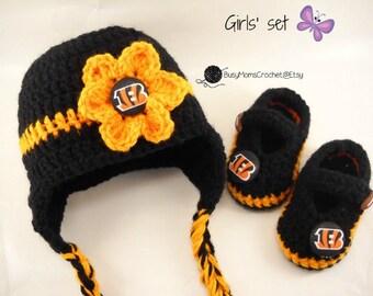 Handmade Cincinnati Bengals inspired crochet hat and bootie set 208e2c8f2