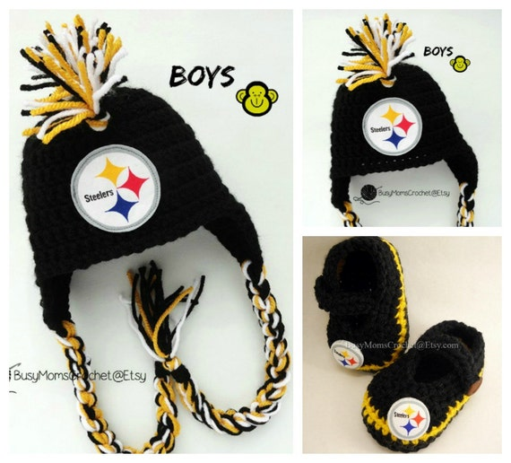 Pittsburgh Steelers colors inspired handmade crochet hat and  76490fa34