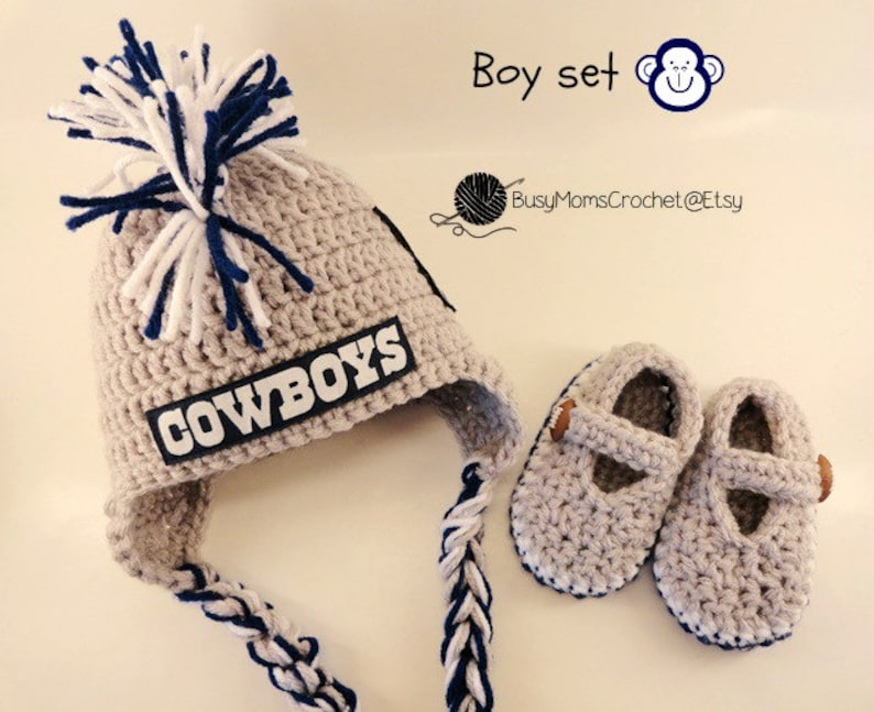 9b2207a4 Baby crochet handmade Dallas Cowboys inspired hat and bootie set, boy or  girl style available, football hat, Newborn to 9 months