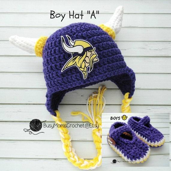 b8e8fe1f7 Baby crochet handmade Minnesota Vikings inspired hat and