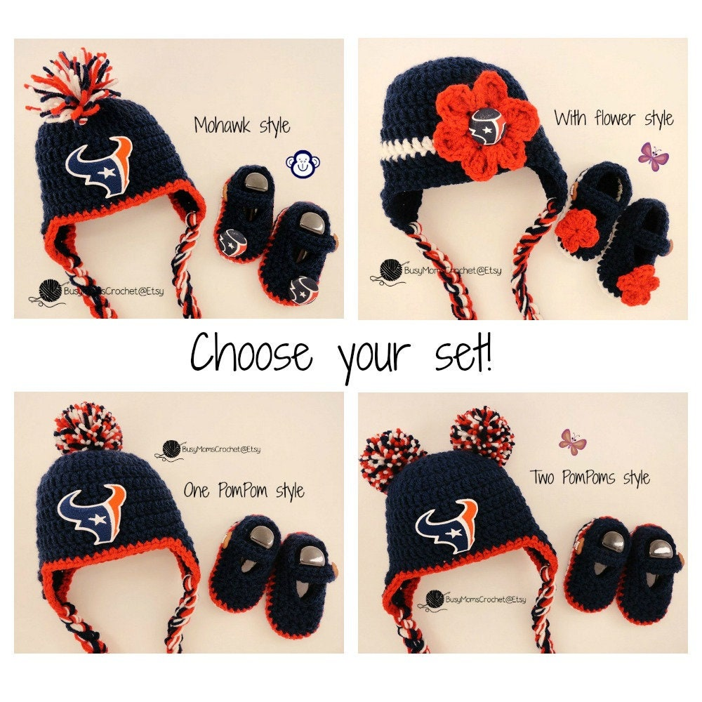 72b77a73d7a Handmade Houston Texans colors inspired crochet hat and