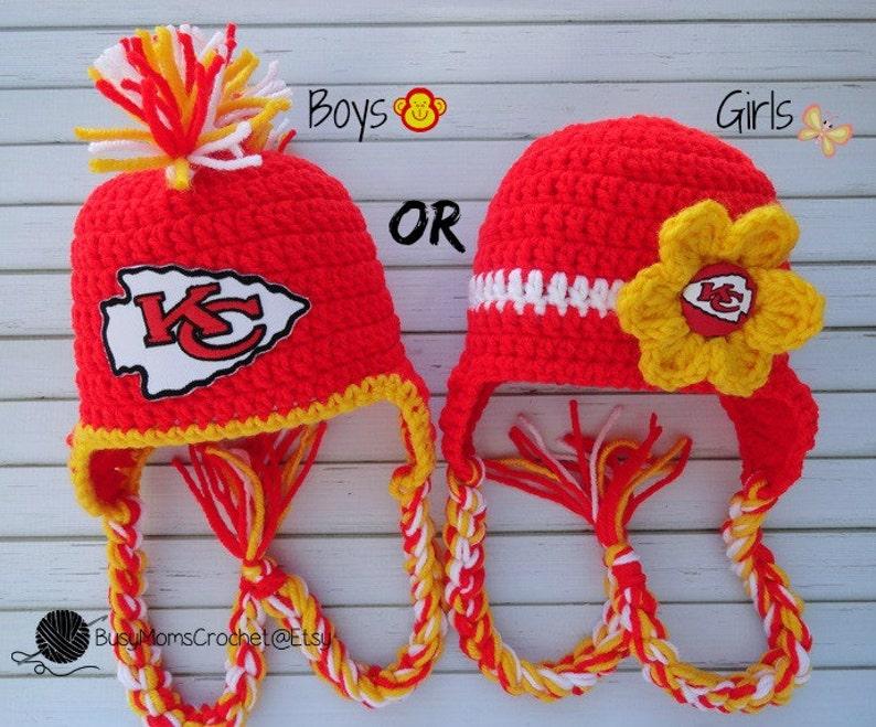 4d5cbbd187fdbc Handmade baby crochet Kansas City Chiefs inspired HAT ONLY   Etsy