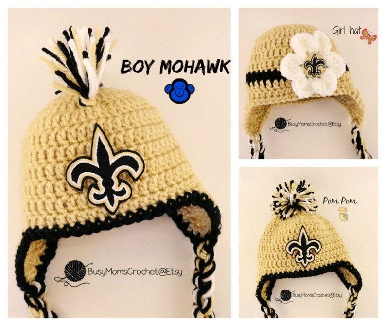 4b9938006 Handmade New Orleans Saints colors inspired crochet baby HAT