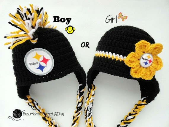 f63a4fd9713 Handmade baby crochet Pittsburgh Steelers inspired HAT ONLY
