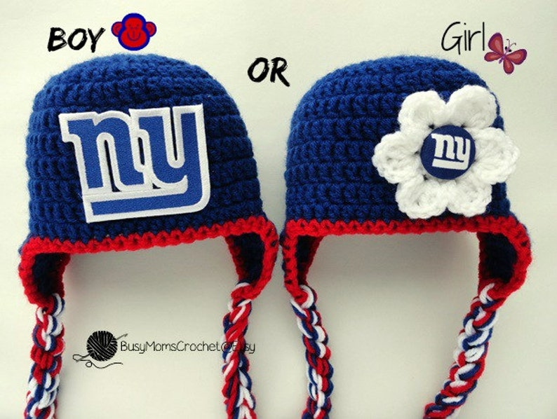 c4b5bc7a93d Handmade New York Giants inspired crochet baby HAT ONLY boy