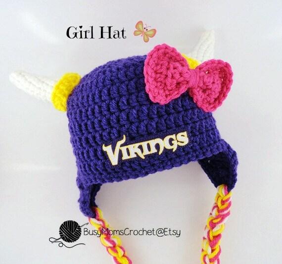 7df54753f Handmade baby crochet Minnesota Vikings inspired HAT ONLY boy