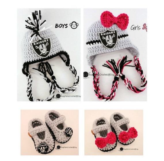 83d4f5cc5 Handmade baby crochet Oakland LA Raiders inspired HAT
