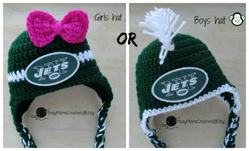 73327dfdb83 Handmade baby crochet New York Jets inspired HAT ONLY boy or