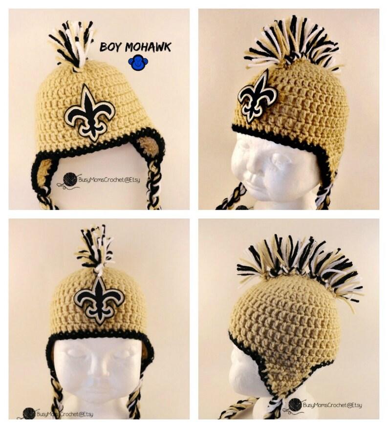 2bab4566428 Handmade New Orleans Saints colors inspired crochet baby HAT