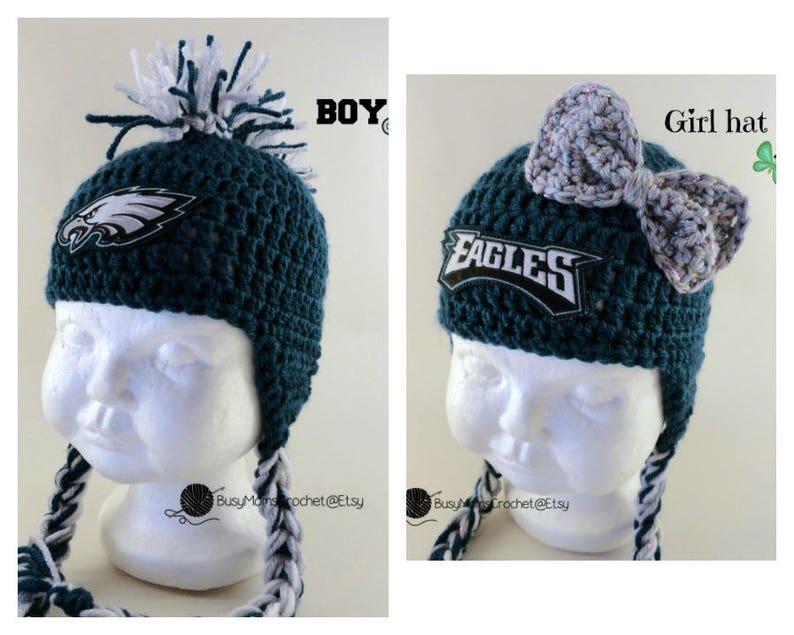 c873e5694 Handmade Philadelphia Eagles colors inspired crochet hat and | Etsy