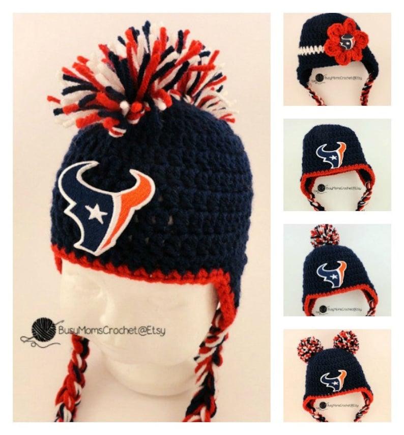 aa4ce661d6c Handmade Houston Texans inspired crochet baby HAT ONLY girl