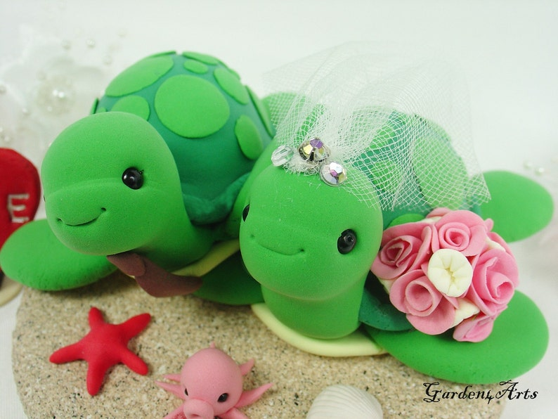 Wedding Cake TopperGreen Sea Turtle with Sand Base for image 0