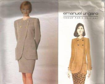 1990s Emanuel Ungaro Jacket Asymmetrical Closure Slim Skirt Paris Original Vogue 1996 Uncut FF Size 8, 10, 12 Womens Vintage Sewing Pattern