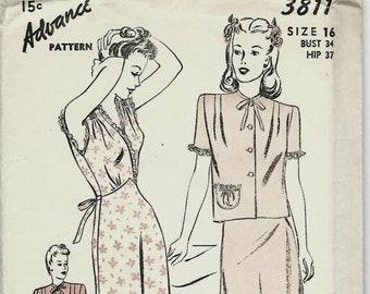 1940s Lingerie Sleeveless Nightgown Bias Cut Surplice Bodice Short Sleeve Bed Jacket Advance 3811 FF Bust 34 Women's Vintage Sewing Pattern