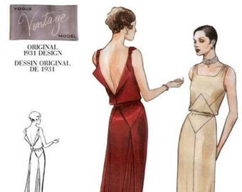 7f7ece5a15 1930s Art Deco Backless Evening Gown Drape Square Neck Vogue 2241 Uncut FF  Size 14 Bust 36 Womens Sewing Pattern