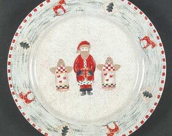 christmas dinner plates santa and angels set of four christmas dinner christmas table dinnerware christmas decor