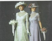 Edwardian Titanic Wedding or Evening Dress and Hats Simplicity 9716 UNCUT FF Sizes 6-12 Bust 30.5 - 34 Women 39 s Sewing Pattern