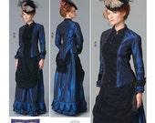 Victorian Steampunk Drape Front Skirt Top Boned Bodice Full Figure Plus Size Butterick 6305 FF Sizes 16-24 Women's Sewing Pattern