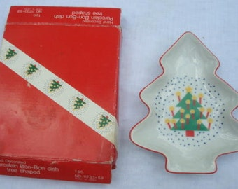 vintage christmas tree shaped bon bon dish candy dish hand decorated original box made in japan christmas decor