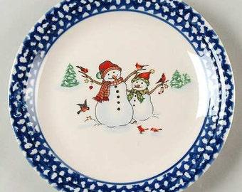 winterland blue snowmen blue sponge trim folk art thomson pottery set of four dinner plates christmas plates christmas dishes - Christmas Plates