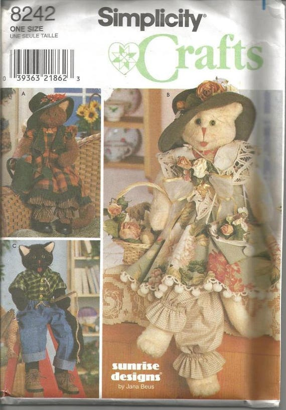 Cat and Clothes Sewing Pattern 30 Inch Tall Cats Simplicity 8242 ...