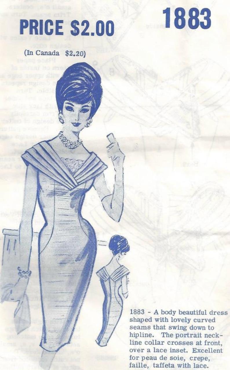 1950s Cocktail Dinner Bombshell Sheath V Neckline V Back Modes image 0