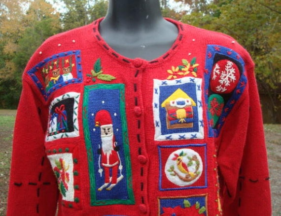 d7785f9d9 Christmas Sweater Ugly Christmas Sweater Front Buttoning Colorful Appliques  Women s Sweater Size Medium Oversized Medium Bust 40 - 42