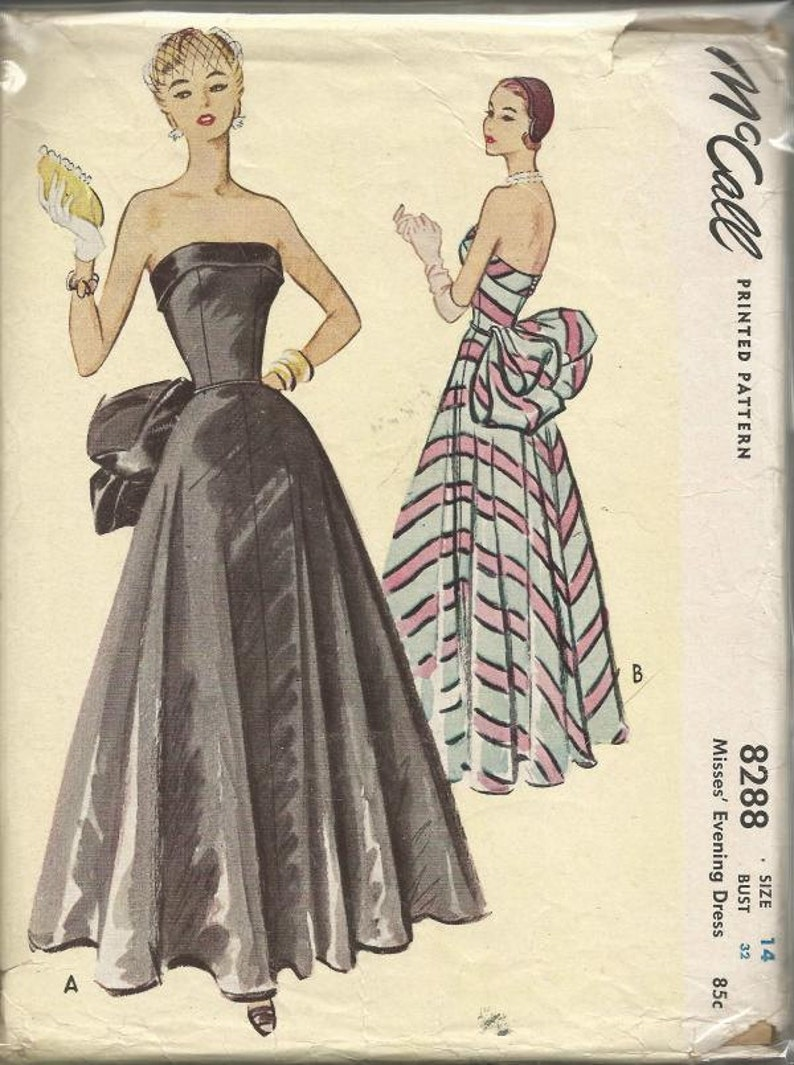 """Vintage 1950s Sewing Pattern Fitted  Strapless Evening Wedding Dress Bust 28/"""""""