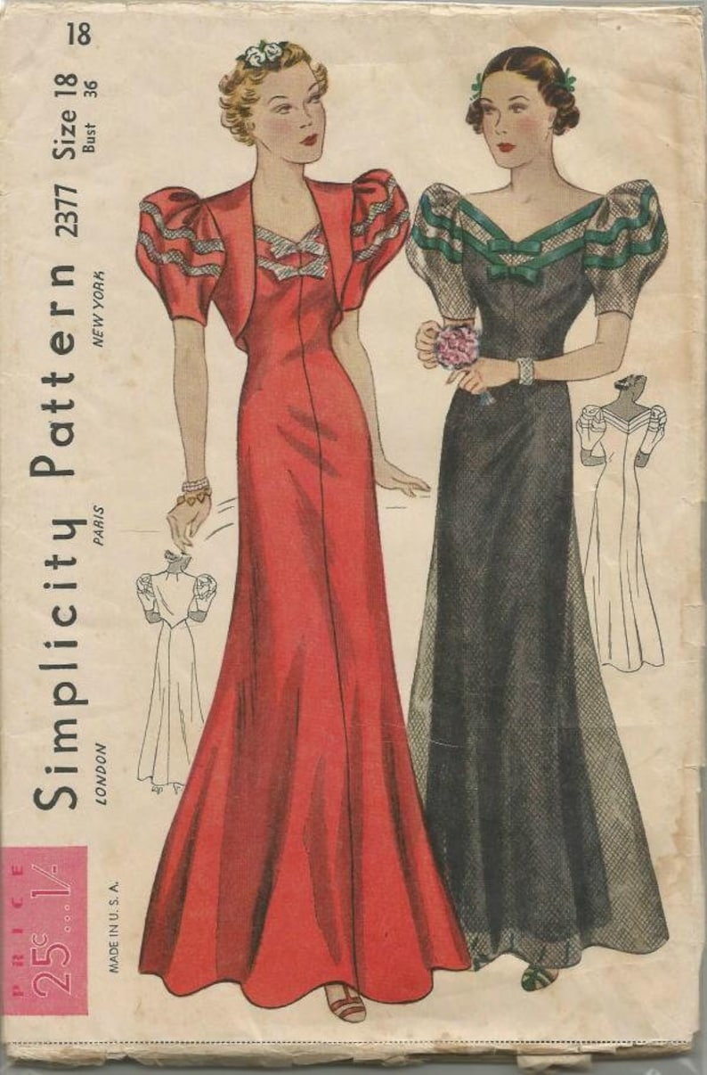 e1c12da926 1930s RARE Evening Dress Evening Gown with Bolero V Neck Short Sleeves Bias  Cut Simplicity 2377 FF Bust 36 Women's Vintage Sewing Pattern