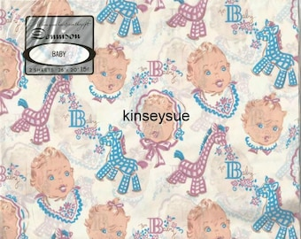 Vintage 1940s - 1950s Baby Shower Gift Wrap Unused Package Baby Boy Baby Girl  Vintage Wrapping Paper Baby Gift Wrap Vintage Gift Wrap