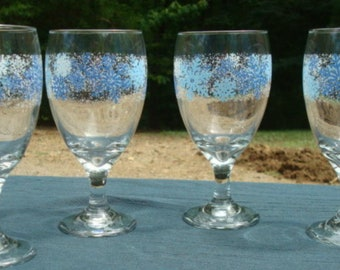 Christmas Winter Stemmed Glasses Water Iced Tea Blue and White Snowflakes Set of Four