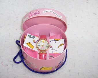 Barbie Fossil Hatbox Watch and Scarf NRFB 1994 Limited Edition Barbie Watch Fossil Watch Vintage Barbie