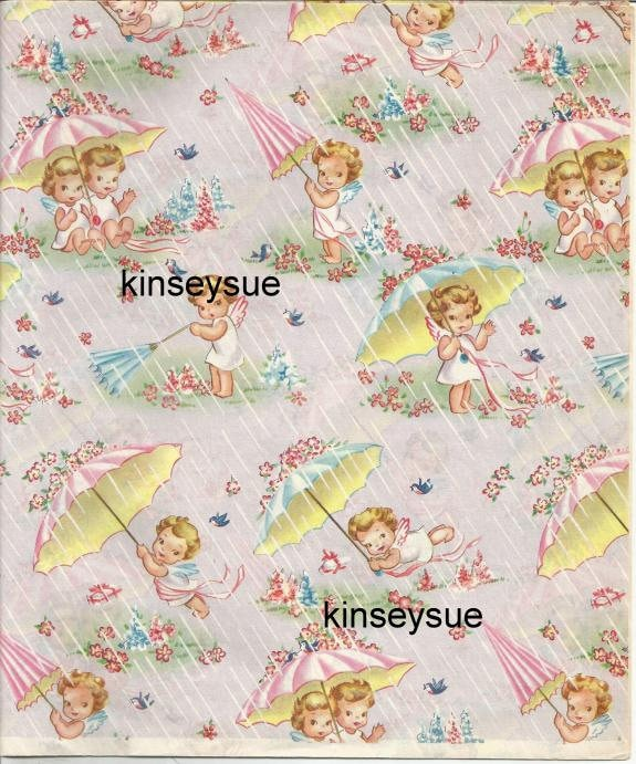 Vintage 1950s Baby Shower Gift Wrap Unused Sheet Baby Boy Baby Etsy