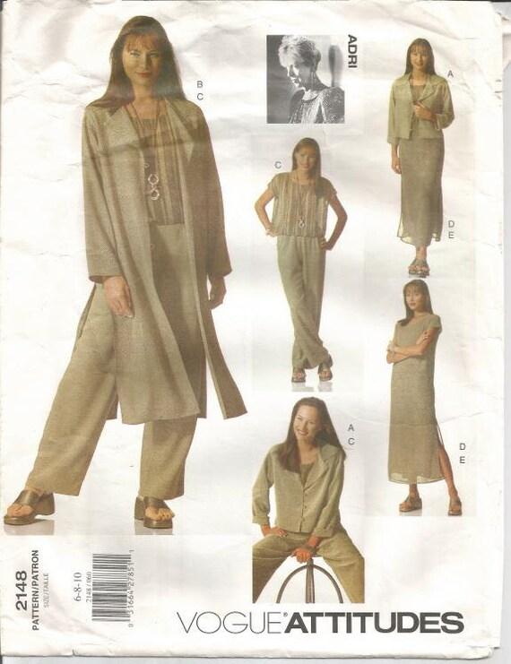 1990er Jahre Jacke Duster Kleid oben Slip Hose Melania Trump Modell Vogue 2148 ungeschnitten FF Größen 6-8-10 Büste 30,5-32,5 Frauen Schnittmuster