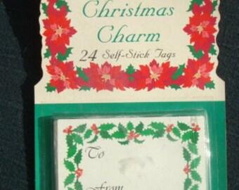 Vintage Christmas Gift Tags Unopened Eureka Christmas Charm 24 Self-Stick Tags Vintage Christmas Vintage Christmas Retro Christmas