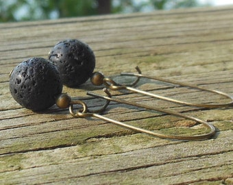 Black Lava mineral stone , antique brass long kidney wire Earrings - natural women girl handmade minimalist simple jewelry