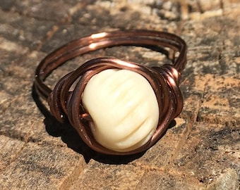 Carved Bone , antique copper wire wrap Ring - size 6 1/2 , white cream off white , tribal african native wild gypsy bohemian , men women