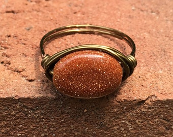 Goldstone , antique brass ,wire wrapped ring - size 10 1/2 , stone , gold , gemstone, glitter brown men women bohemian unisex jewelry
