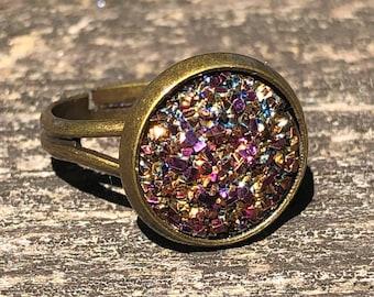faux iridescent metallic magenta / gold 12mm Druzy , antique brass adjustable ring - unisex  jewelry / boho bohemian / women girl gift